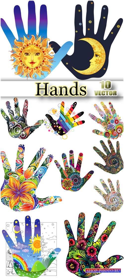 Руки  в креативных рисунках - вектор