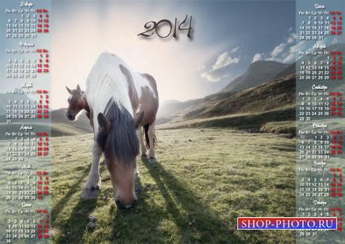 Календарь 2014 - Кони на пастбище