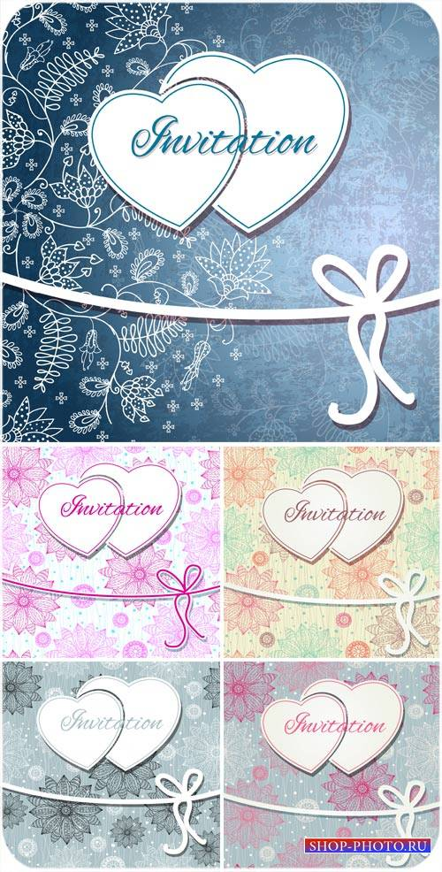 Векторные пригласительные с цветами и сердечками - вектор
