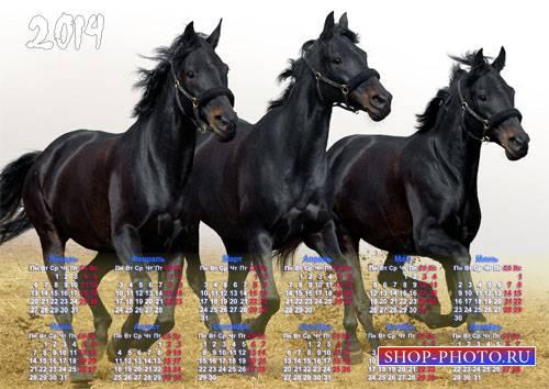 Календарь на 2014 год - Три красивых коня