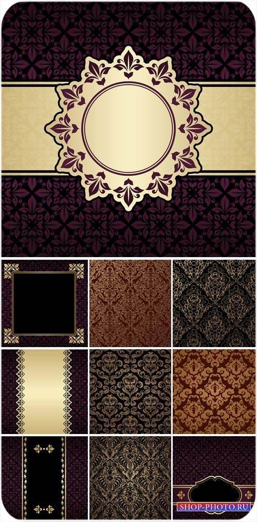 Винтажные узоры, векторные фоны с орнаментами