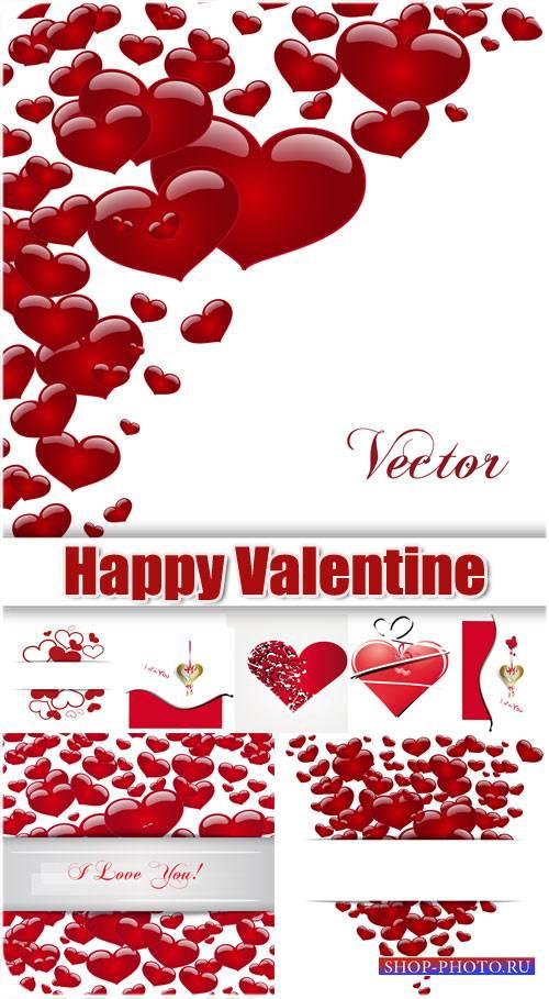 День святого Валентина в векторе, россыпи красных сердечек