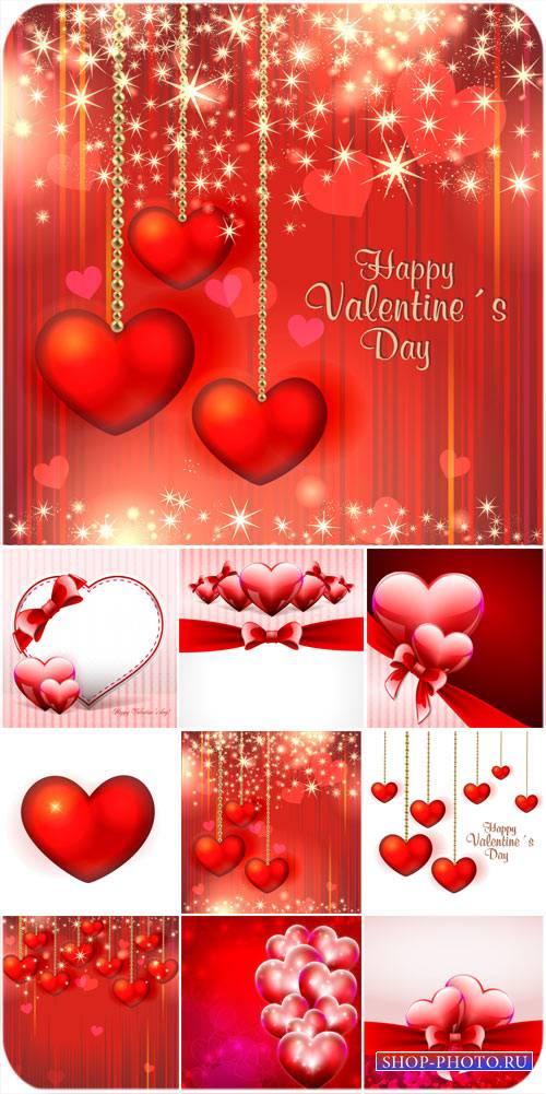 С днем святого Валентина,  сердечки, красные фоны, вектор