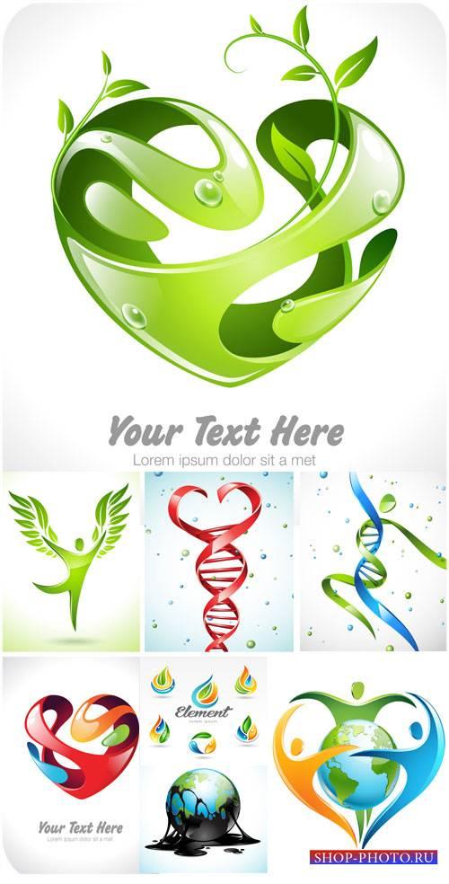 Логотипы, природа и человек - вектор