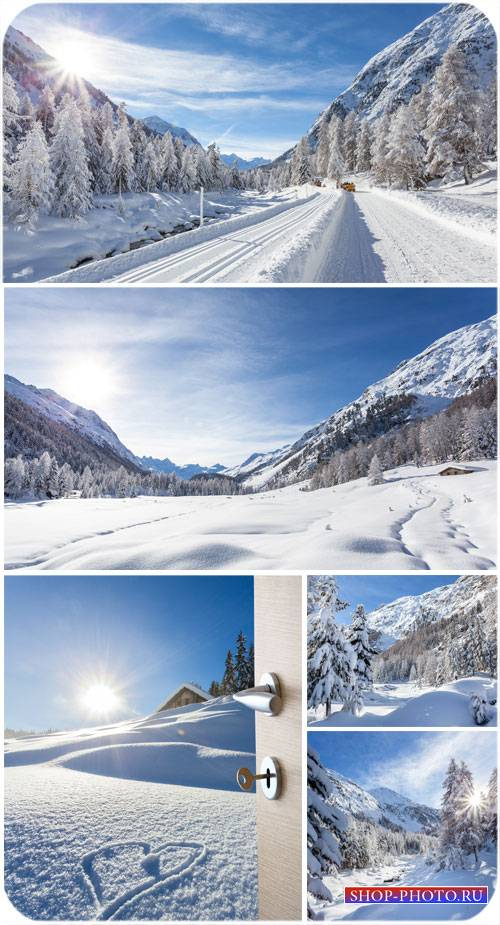 Зима, пейзажи - сток фото