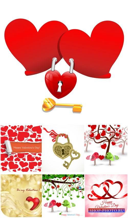 С днем святого валентина, ключи от сердца, птички с сердечком - вектор