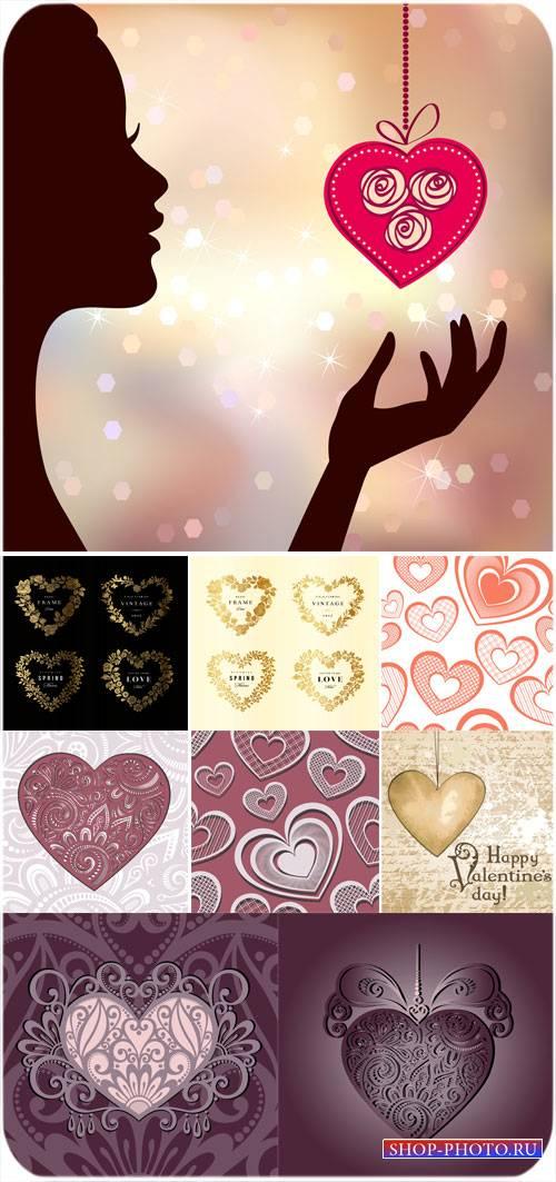 С днем святого валентина, девушка с сердечком, сердечки - вектор