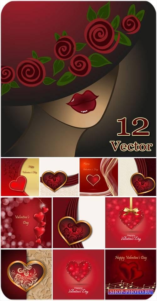 С днем святого валентина, девушка в шляпе, сердечки - вектор