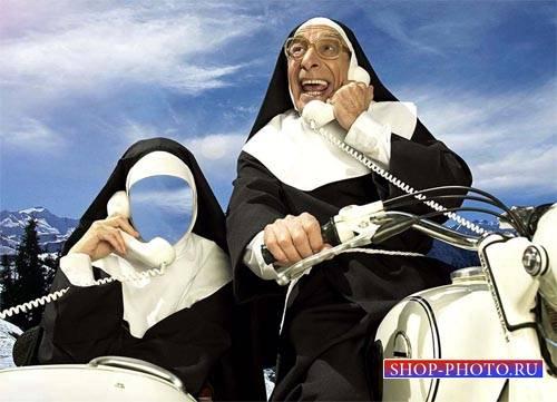 Женский шаблон - Монашка в коляске с телефоном