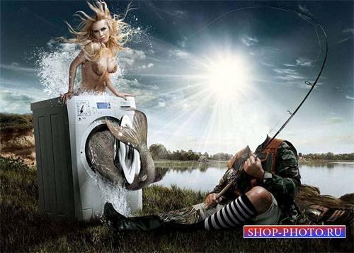 Шаблон для Photoshop - Удачный улов рыбака