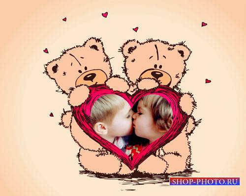 Рамка для фотомонтажа - Сладкие поцелуйчики