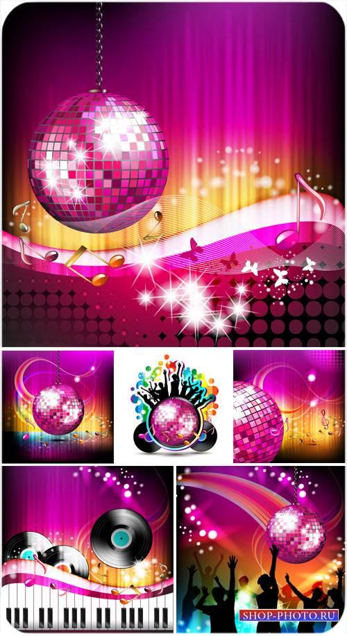 Векторные музыкальные фоны, зеркальный шар, диско