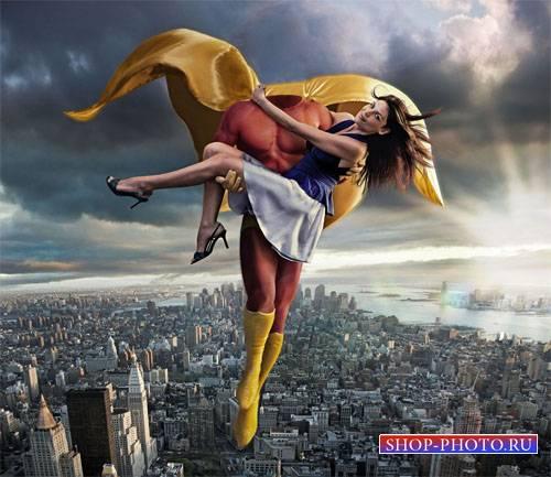 Шаблон psd - Супермен с девушкой на руках