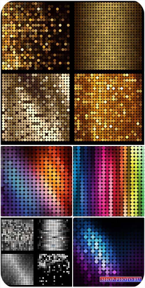 Золотые и разноцветные сверкающие фоны в векторе
