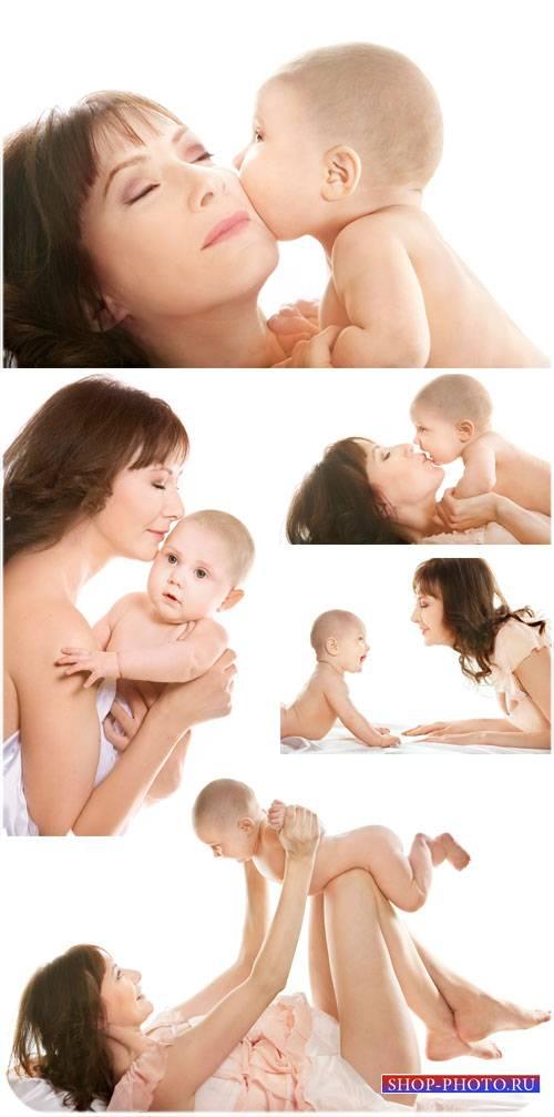 Женщина с маленьким ребенком, семья - сток фото