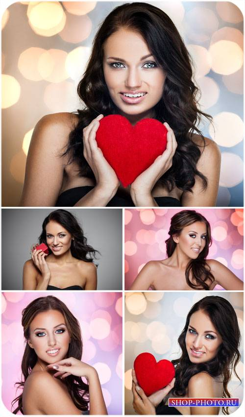 Девушки, девушка с сердечком - сток фото