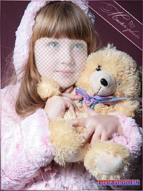Девочкам детский шаблон - Милый мишутка