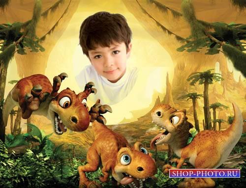 Детская рамка - Веселые динозаврики