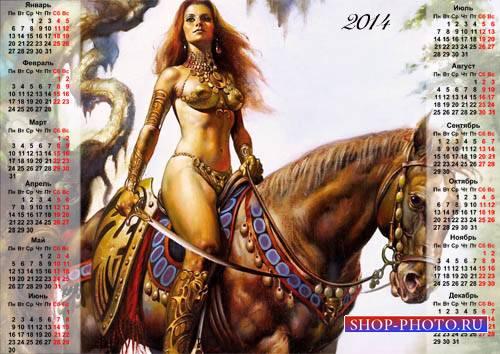 Календарь на 2014 год - Девушка-воин фэнтези