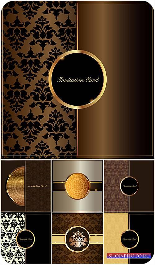 Винтажные векторные фоны с узорами и золотыми элементами