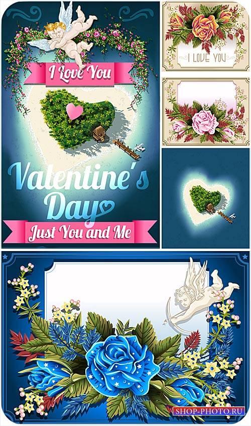 Открытки с розами и ангелами ко дню святого Валентина - сток вектор