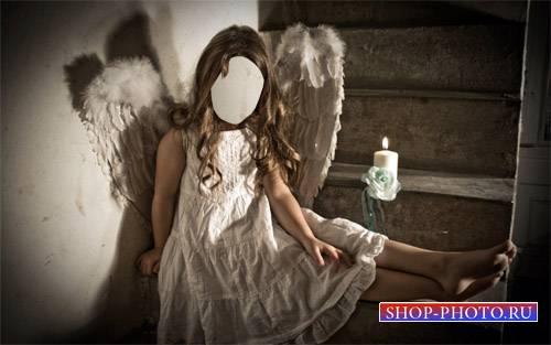 Шаблон для детей - Девочка в костюме ангела