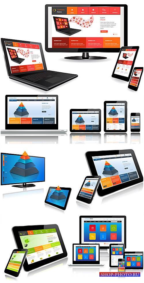 Современные технологии, ноутбук, планшет, смартфоны - вектор