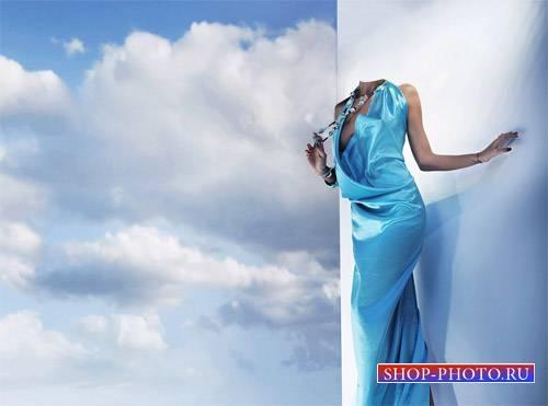 Шаблон для photoshop - В голубом вечернем наряде