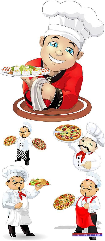 Повара, пицца, суши, курица - вектор