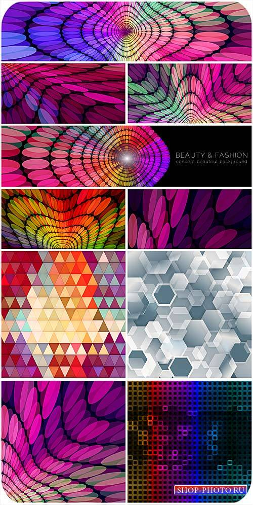 Абстракция, разноцветные векторные фоны