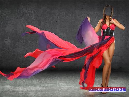Шаблон для фотомонтажа - Брюнетка в красно-синем платье