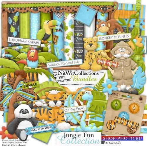 Очаровательный детский скрап-комплект - Весёлые джунгли