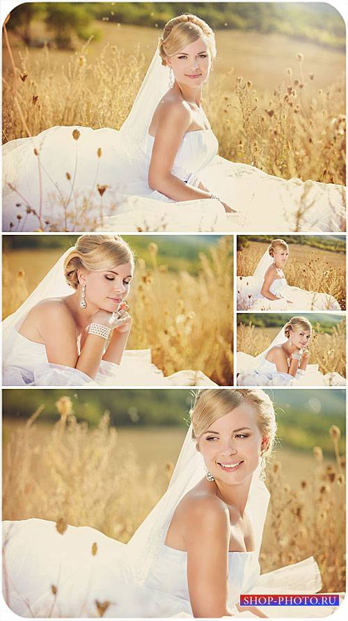 Невеста, девушка на природе - сток фото