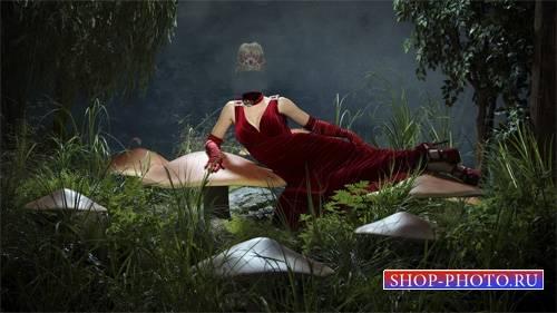 Шаблон psd - В сказочном мире в бордовом вечернем платье