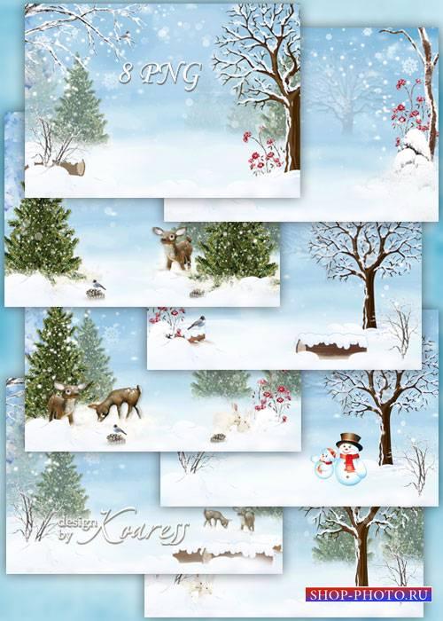 Набор зимних детских фонов для фотошопа - заснеженный лес, олени, зайчики