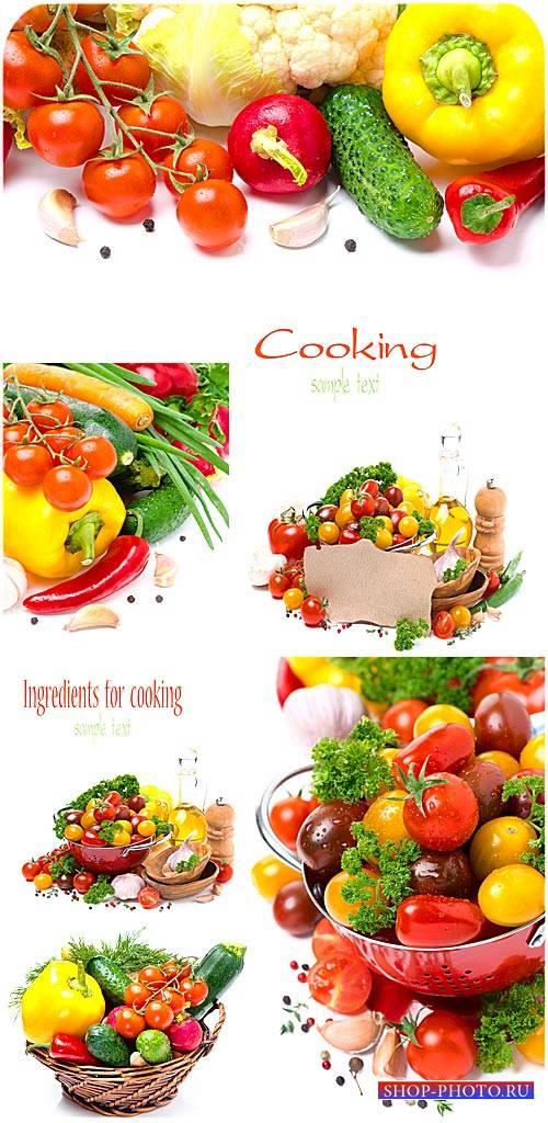 Продукты для приготовления, овощи - сток фото