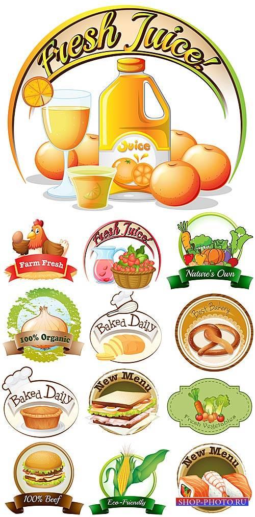 Этикетки, продукты питания - вектор