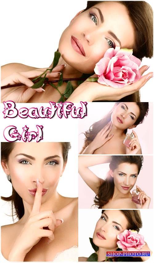Девушка с розой и парфюмом - сток фото