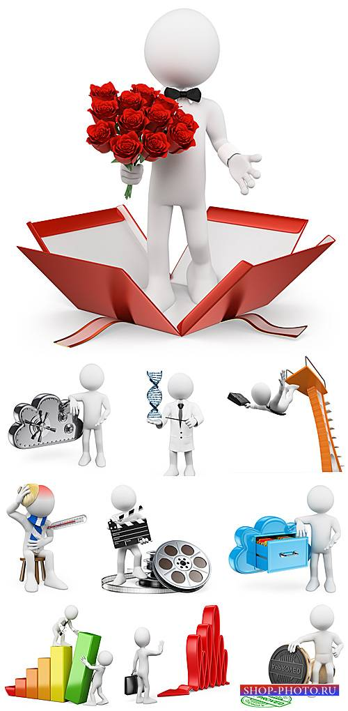 3D люди в разных ситуациях - сток фото