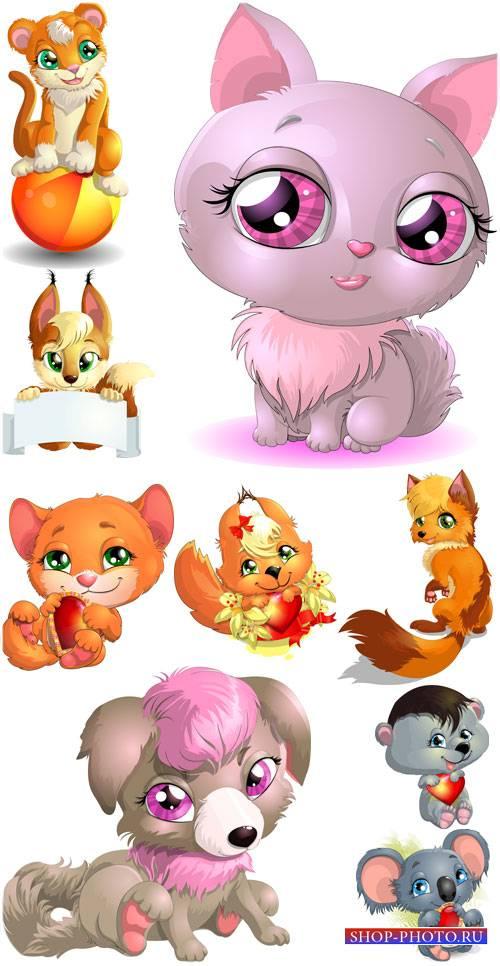 Животные в векторе, кошка, собачка, белочка, лисичка, тигренок