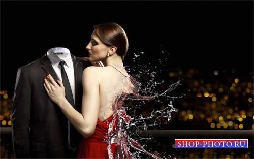 Мужской шаблон - Креативное фото с девушкой из воды