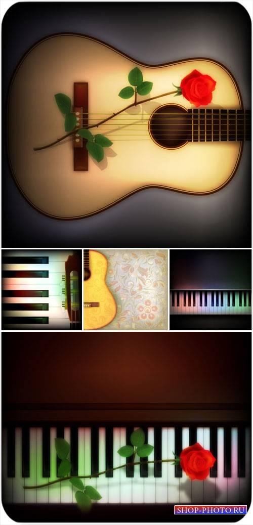 Музыкальные фоны в векторе, гитара  с  розой