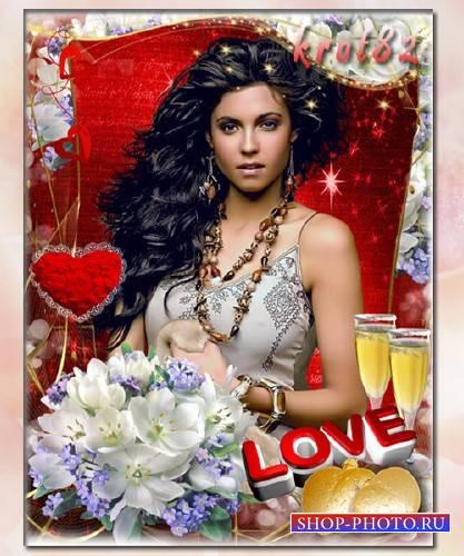 Женская фоторамка с сердечками и цветами — Любовь