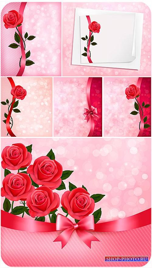 Розы, векторные фоны с цветами