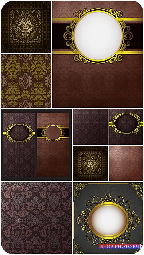Векторные винтажные фоны с золотыми элементами, узоры