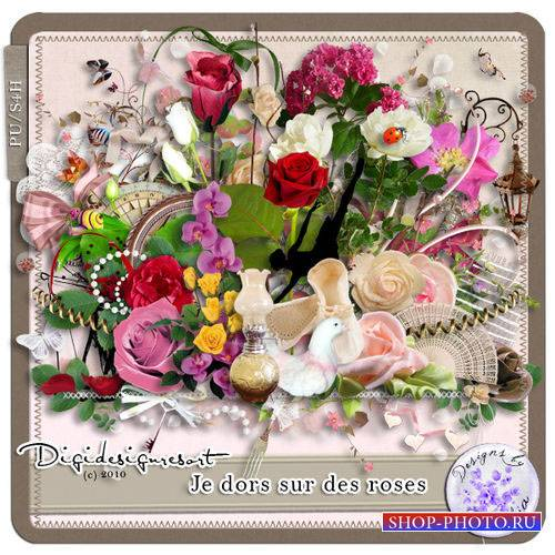 Прекрасный цветочный скрап-комплект - Постель из роз