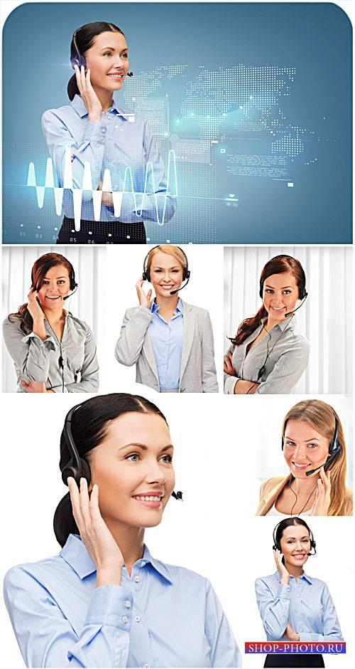 Девушки-операторы, работа - сток фото