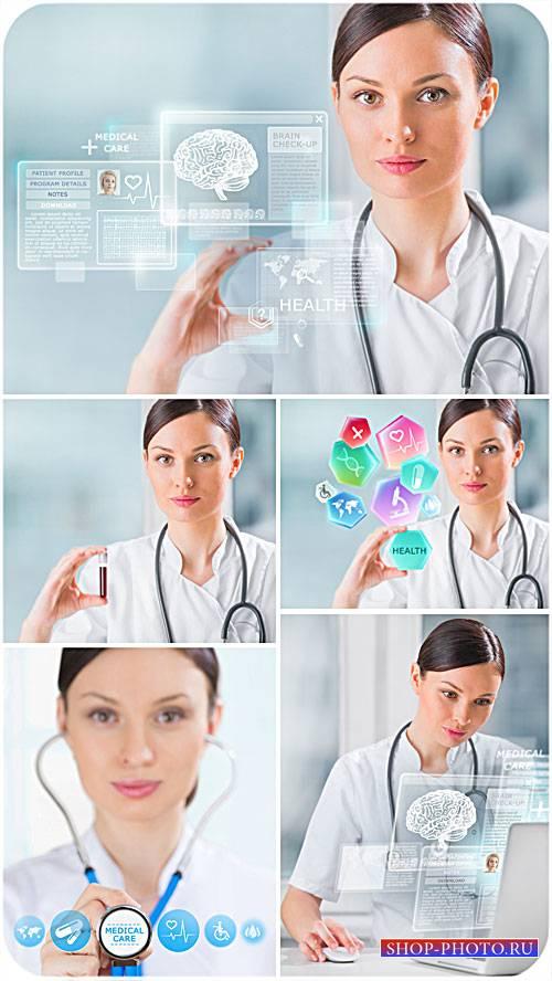 Медицинские технологии, девушка доктор - сток фото