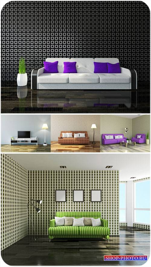 Интерьер, красивые диваны - сток фото
