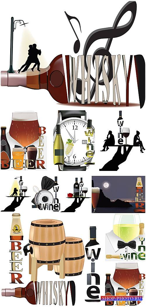 Вино, пиво, виски - вектор